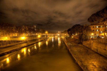 Rome,Tiber River at Night - city, river, rome, tiber
