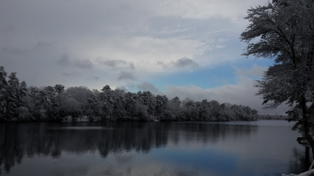 Lake after the snow - lake after snow, snow storm ending, beauty in winter, blue streak