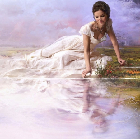 Lady of the lake - lovely, perfect, beautiful, splendor, girl, magical, flower, peaceful, beauty, color, mirror, lady