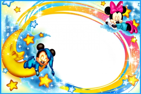 Good night! - luna, frame, yellow, good night, card, moon, mouse, minnie, white, pink, mickey, disney, blue