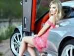 Blonde Model and a Sports Car