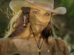 Cowgirl and Horse Collage