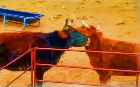 Lazy cows - cow, altered reality, oil paint, barn yard