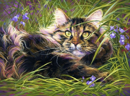 In the Grass - painting, flowers, resting, cat, artwork