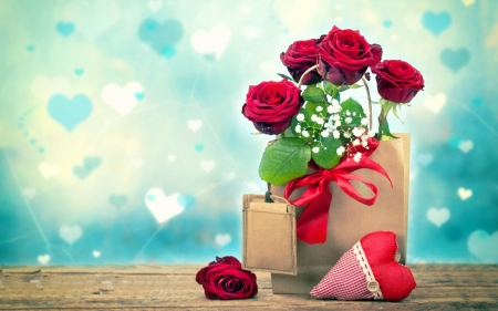 Valentine's Day - romantic, holiday, love four seasons, roses, gift, Valentines, love, heart, beloved valentines
