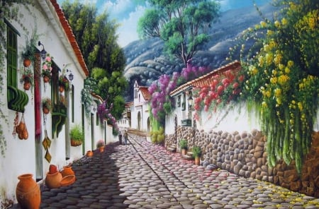 Floral Street - painting, summer, cobblestone, flowers, blossoms, colors, artwork