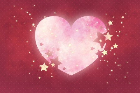 Heart & Stars - red, stars, pretty, art, lovely, background, beautiful, abstract, wallpaper, heart, beauty, pink