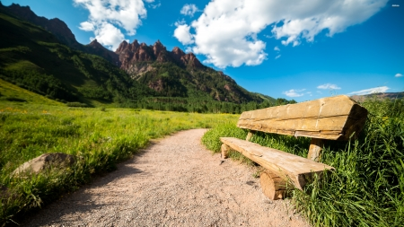 path to the mountains - mountain, path, bench, grass