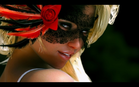 Beauty - red, black, woman, masquerade, fantasy, girl, feather, rendering, flower, face, mask