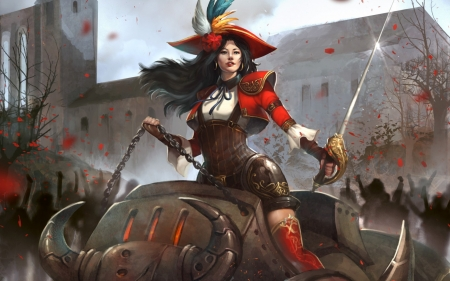 Fantasy girl - red, steampunk, game, woman, hat, fantasy, mechanical, girl, bull, sword