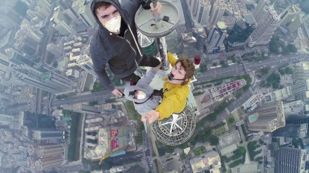 Another Selfie With My Buddies... - skyscraper, climbing, sky, high