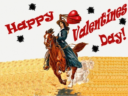 Happy Valentines Day!............ - valentines day, female, models, hats, holiday, boots, fun, cartoon, women, horses, cowgirls, girls, western, style