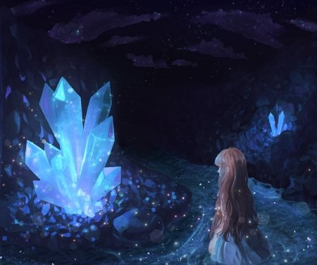 Crystal Cave - pretty, crystals, dress, glow, woman, cave, anime, darkness, beauty, river, anime girl, long hair, light, blue, female, lovely, beauitful, blonde hair, water, girl, dark, lady