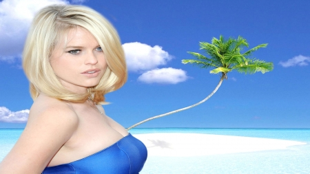 Alice Eve02 - Beach, Alice Eve, Palm Tree, Blue Sky