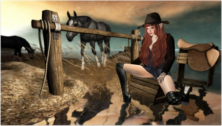 Fantasy Cowgirl - boots, horse, cowgirl, hat