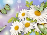 Green Butterflies and Daisies
