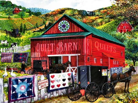 Quilt Barn F1 - architecture, art, buggy, equine, beautiful, horse, artwork, barn, farm, painting, wide screen, scenery, landscape