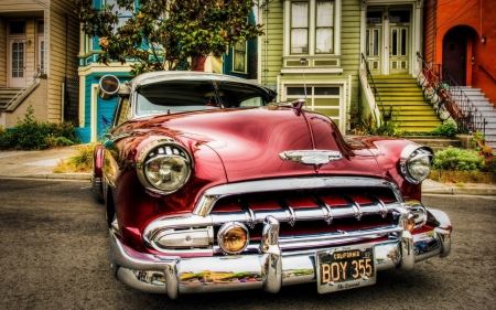 classic chevy - house, street, sedan, chevrolet