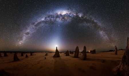 Milky Way over the Pinnacles in Australia - stars, fun, cool, milky way, space