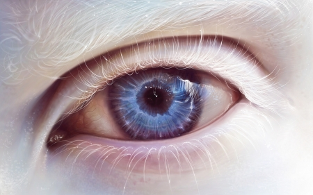 Albino eye - art, fantasy, luminos, eye, lashes, albino, blue
