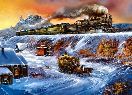Coyote Special F1 - railroad, art, locomotive, beautiful, illustration, artwork, winter, train, snow, engine, painting, wide screen, tracks