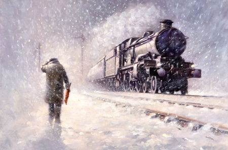 Winter Blizzard F - railroad, art, locomotive, beautiful, illustration, artwork, winter, train, snow, engine, painting, wide screen, tracks