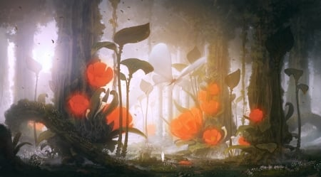 Mysterious forest - forest, fantasy, 2d, butterfly, flowers, concept art, illustration