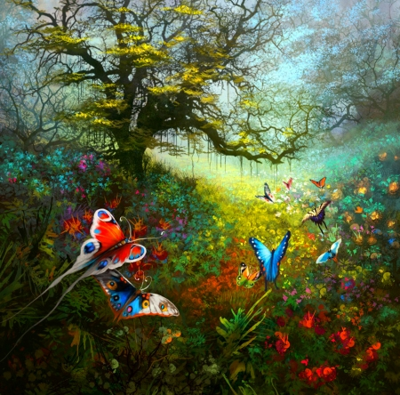 To the Brightness of the Day - fantasy, 2d, flowers, butterflies, illustration