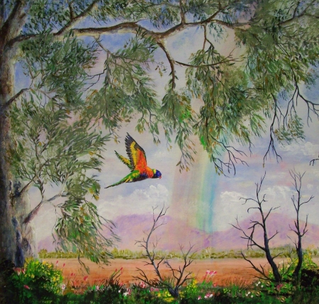 Rainbow Ranges - Rainbow, art, tree, Ranges, grass, birds