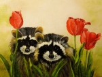 animals and tulips