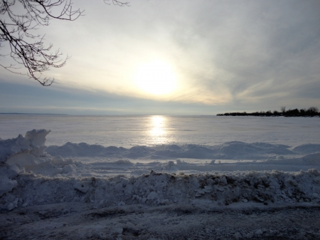 frozen lake ontario - ice, lake ontario, snow, winter