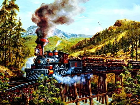 Smoke, Steam and Timber F - railroad, art, locomotive, beautiful, illustration, artwork, train, engine, painting, wide screen, tracks