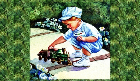 Toy Train - little boy, railroad, art, locomotive, toy, beautiful, illustration, artwork, train, engine, painting, engineer, wide screen, tracks