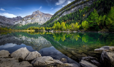 Tranquility - forest, rocks, beautiful, trees, lake, mountain, tranquil, serenity, mirror, landscape