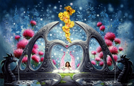 Fountains of Youth - fountains, love four seasons, hearts, all hearts, fantasy, paintings, fairies, flowers, garden, pink