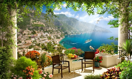 Coastal view - mediterraneo, rocks, shore, breeze, beautiful, sea, beach, mountain, boats, village, flowers, rest, view, relax, terrace, rays, summer, bay, coast