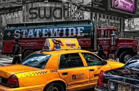Yellow Cab - architecture, cab, art, USA, cityscape, beautiful, illustration, artwork, New York, automobile, taxi, car, painting, auto, wide screen