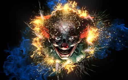 Psycho Clown - Photoshop, Psycho, Fire, Clown