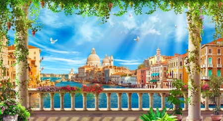 View of Venice - sun, view, town, beautiful, spring, sky, terrace, sea, Venice, paradise, rays, summer, flowers