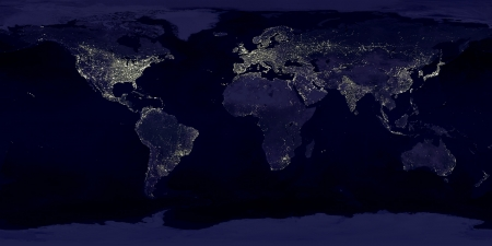 Earth seen from space - earth, planet, night, space
