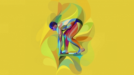 Olympic Swimmer  - art, beautiful, olympic, artwork, swimmer, 1916, painting, summer, wide screen, sports