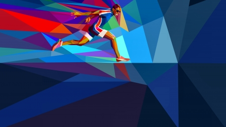 Olympic Runner - art, beautiful, olympic, artwork, runner, 1916, painting, summer, wide screen, sports