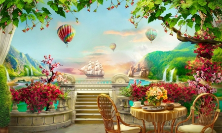 Rest in paradise - sailing, beautiful, sea, mountain, fantasy, waterfall, flowers, rest, lovely, view, place, sky, lake, paradise, ship, balloons, summer