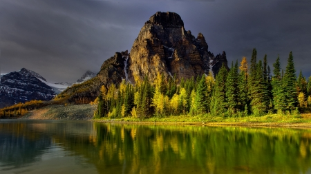 wonderful mountain lake landscape - mountain, forest, reflection, overcast, lake, landscape