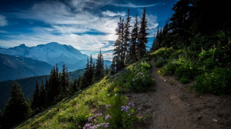 beautiful mountain trail - view, mountains, slope, trail, trees, clouds
