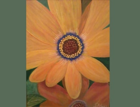 flowers painted by saad kilo - wall art, orange, yellow, newart, roses, still life, oil paintings, flowers, nature