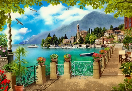Terrace view - view, town, beautiful, lake, terrace, paradise, summer, flowers, village, coast