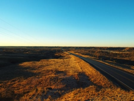 Lake Ransom Canyon In Autumn (Looking South) - West Texas Roads, High Definition, Sunrise, Autumn