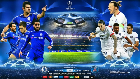 Chelsea Psg Champions League 2016 Football Sports Background