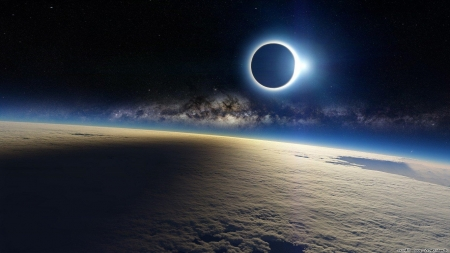 Solar Eclipse in 2014 over Antarctica - earth, solar, eclipse, space